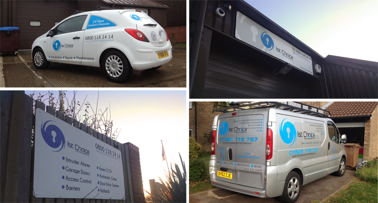 Business Sign and Vehicle Graphics for 1st Choice Security